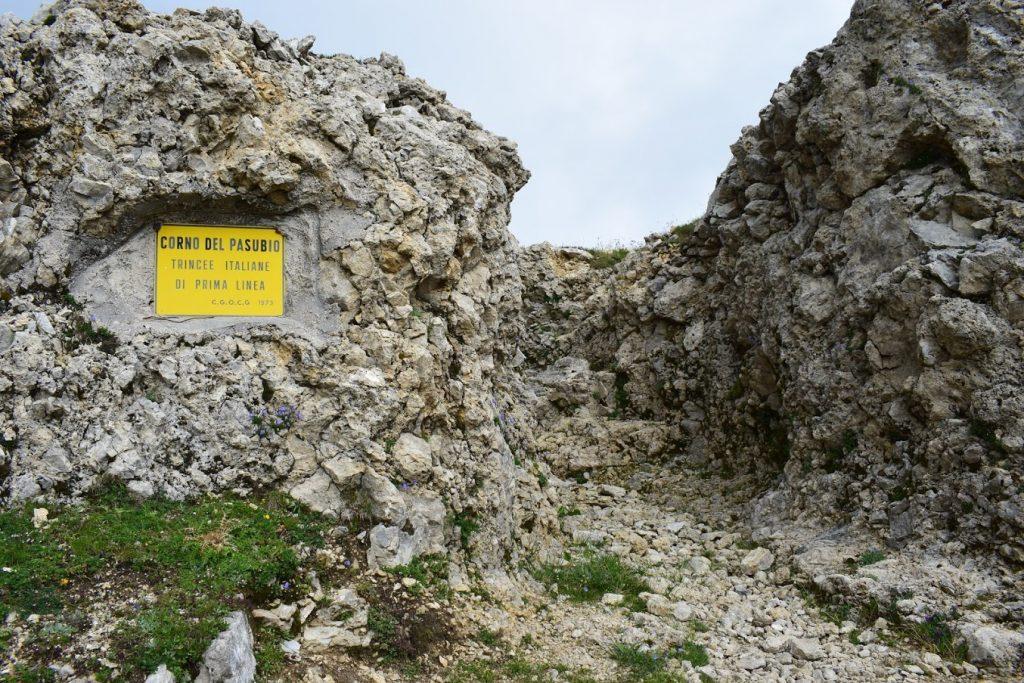 Foto del Corno del Pasubio, trincea italiana